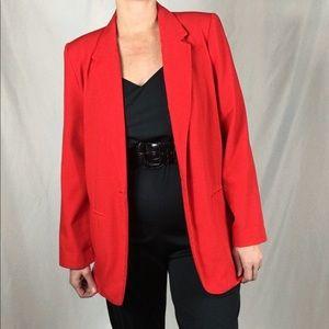 Vintage, red, oversized blazer